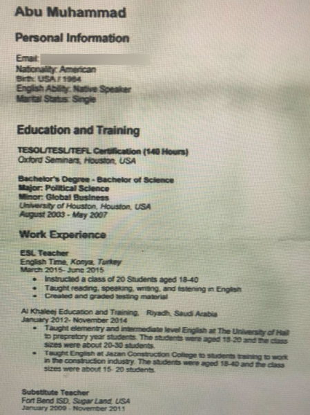You Definitely Shouldn't Hire This American Who Reportedly Sent In A Resume To ISIS