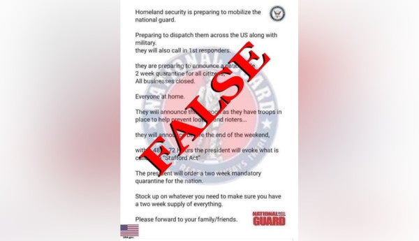 No, the Ohio National Guard didn't issue a letter declaring a nationwide quarantine