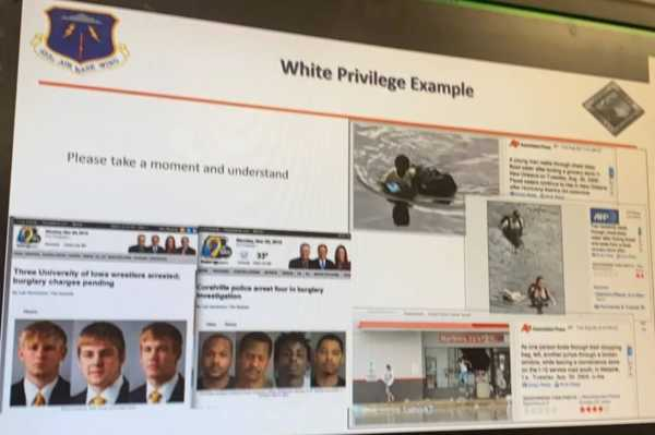 This slide from an Air Force brief shows airmen what white privilege looks like