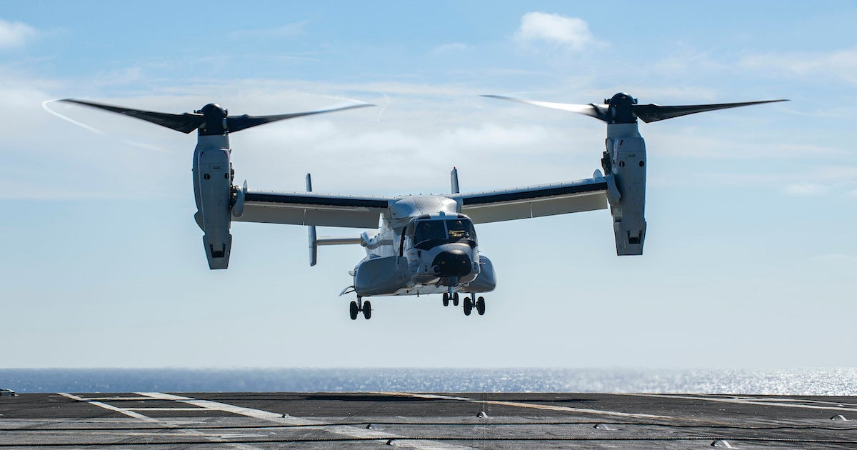 Navy CMV-22B Osprey conducts carrier operations at sea