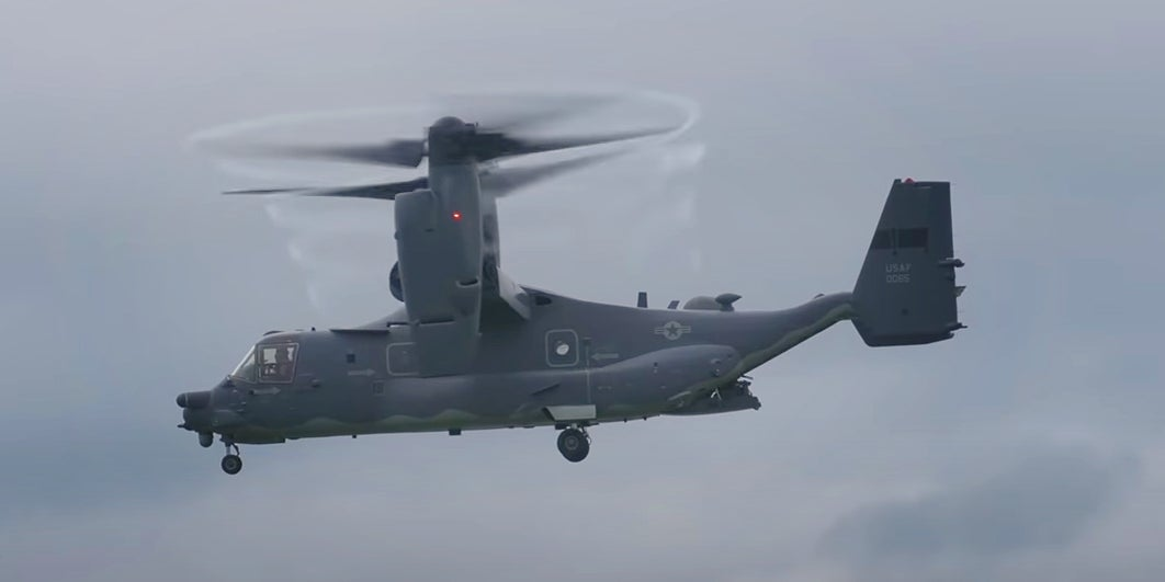 Watch this CV-22 Osprey as it generates propeller vortexes and takes a bow