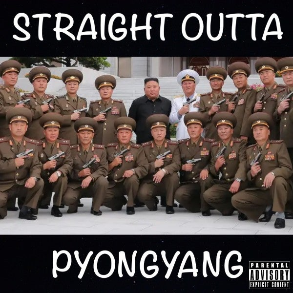 Flanked by pistol-packing generals, Kim Jong Un appears ready to drop the hottest diss track of 2020