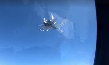 Watch a Russian SU-35 buzz a Navy aircraft for the second time in just 4 days