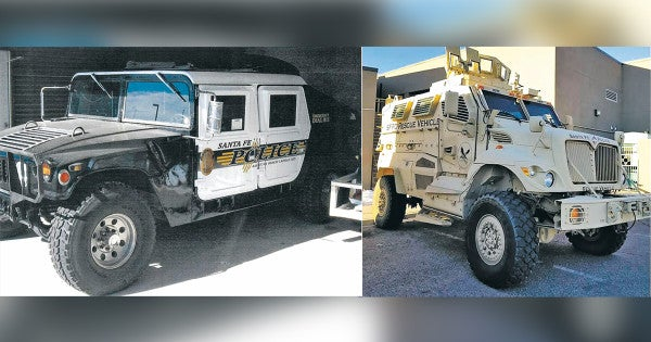 A New Mexico police department is getting rid of two military vehicles handed down from the Pentagon