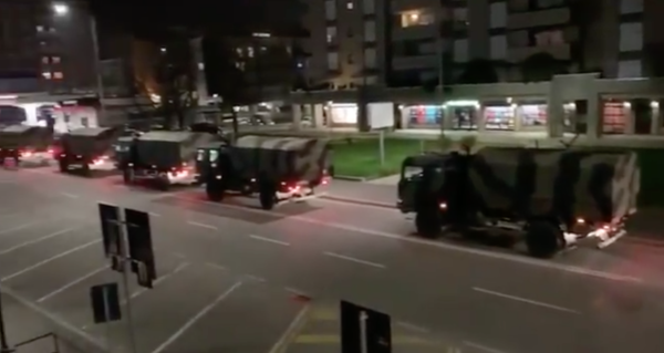 Haunting video shows Italian army trucks transporting coffins from town rocked by coronavirus