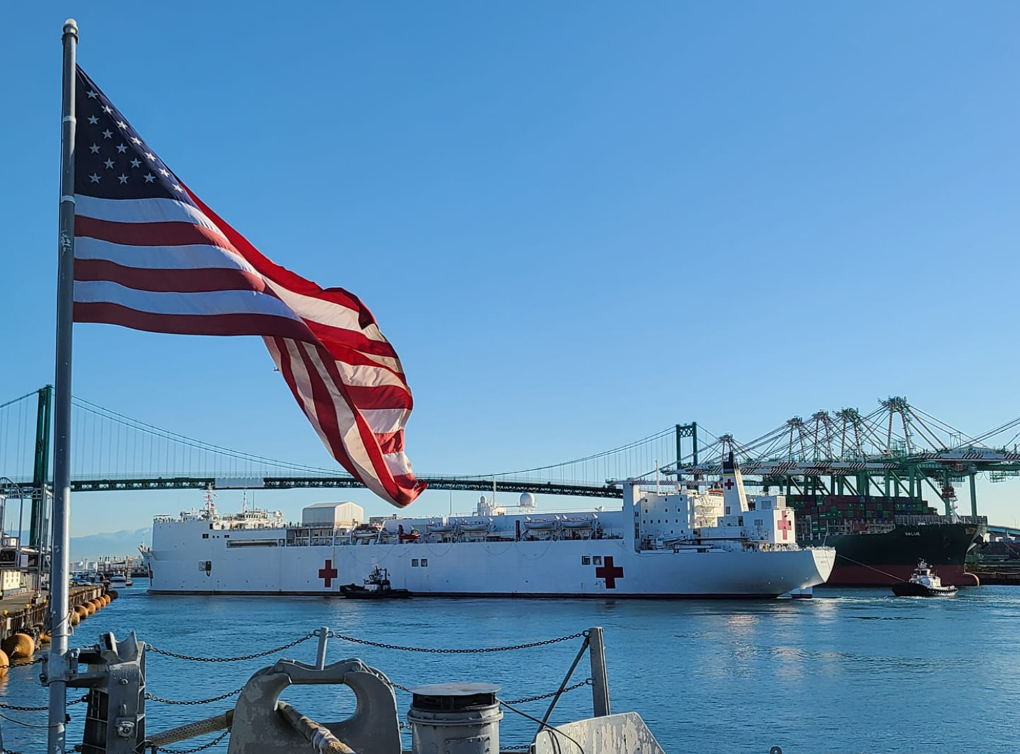 Video shows how COVID-19 positive patients are brought onto the USNS Comfort