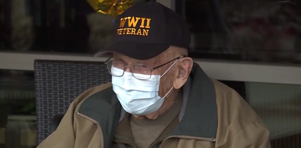 A 104-year-old World War II veteran had a socially distanced birthday party after recovering from COVID-19