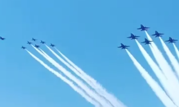 Navy Blue Angels, Air Force Thunderbirds spotted training over Florida together