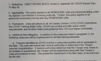 Army denies making soldiers with coronavirus 'quarantine' behind a strip of tape in the field