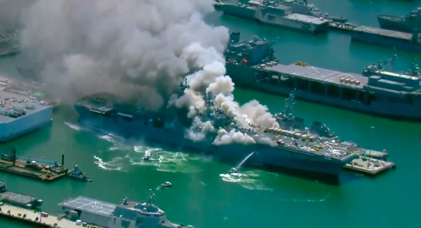 Navy: 57 treated for injuries in USS Bonhomme Richard fire as blaze continues