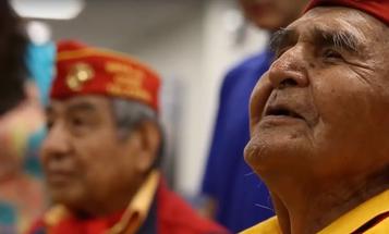A WWI Code Talker sings the Marine Corps hymn in Navajo