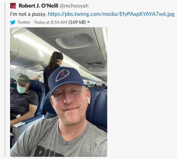 Delta bans former Navy SEAL Rob O'Neill after he posted a photo of himself without a mask on a flight