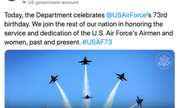 The State Department wished the Air Force a happy birthday with a photo of the Navy's Blue Angels