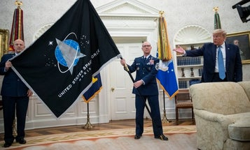 A White House ceremony unveiled the new US Space Force flag, which has been mocked as a 'Star Trek' rip-off