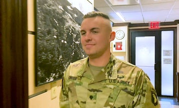 Spc. Trevor Cross presents his idea for the 18th Airborne Corps Innovation Challenge