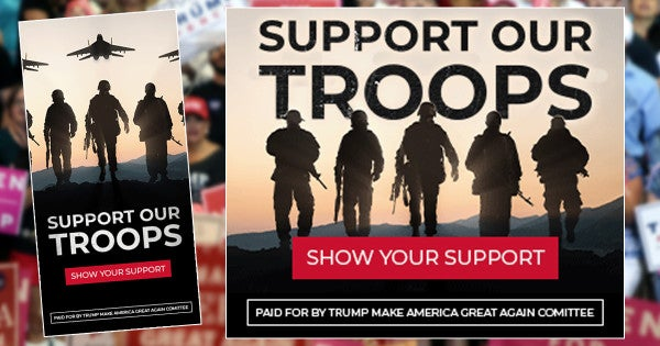 Trump campaign ad urges 'support our troops' with a picture of Russian soldiers and jets