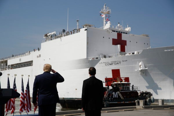 Trump sees off New York-bound Navy hospital ship