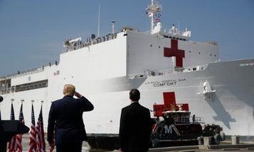 Trump sees off New York-bound Navy hospital ship