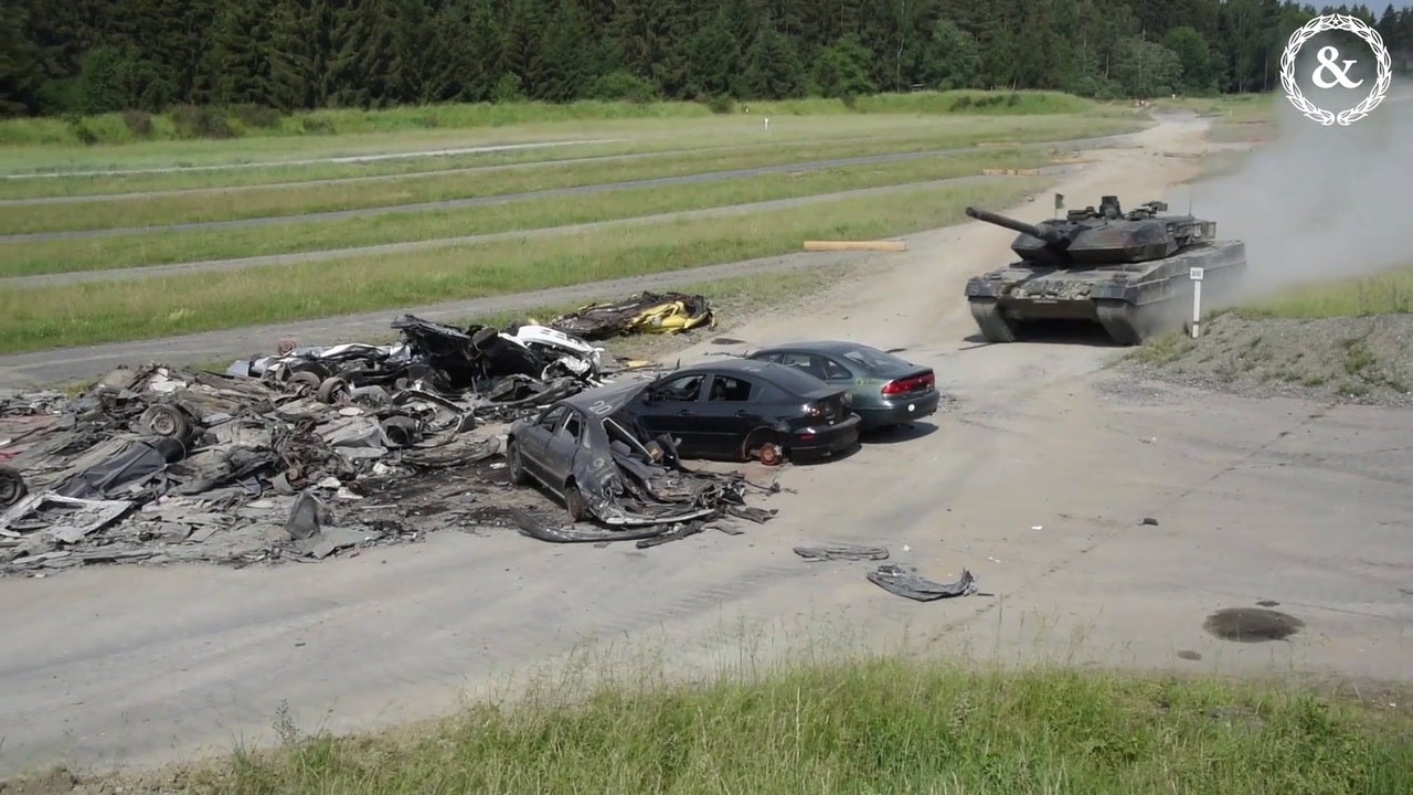 Army Tank Crews Crush Cars