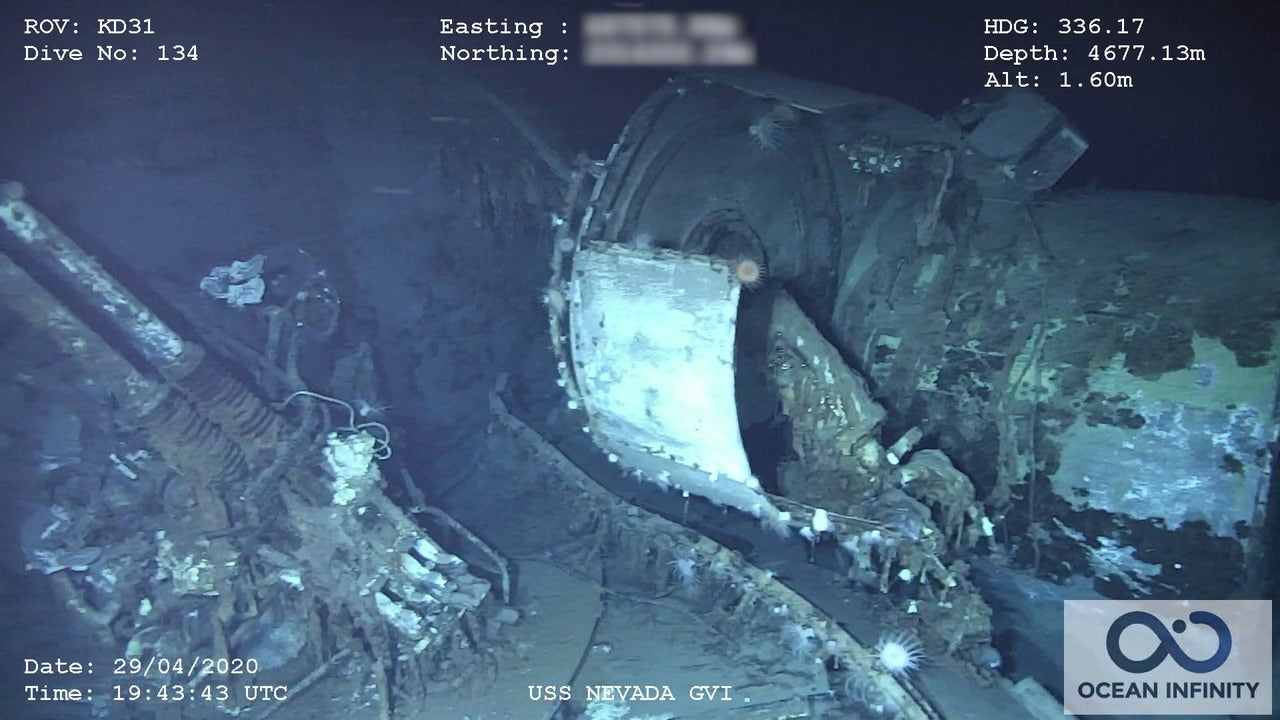 USS Nevada wreckage footage