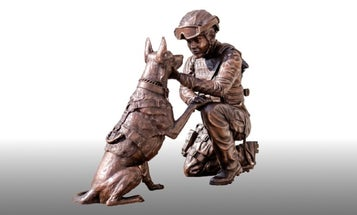 New sculpture honoring servicewomen and military working dogs unveiled at Arlington National Cemetery