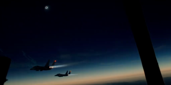 Watch 3 F-15s Literally 'Chase The Moon' During A Solar Eclipse