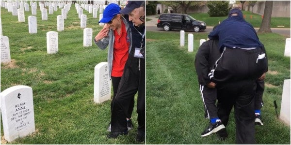 An Arlington National Cemetery Worker Carried A 96-Year-Old WWII Vet To Visit His Wife's Grave