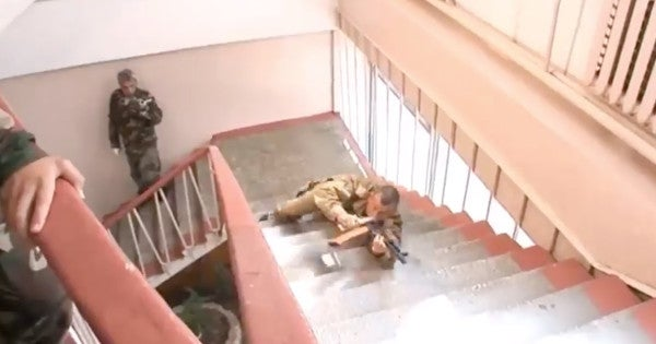 Here's A Video Of Russian Soldiers Gracefully Sliding Down Stairs For Some Reason