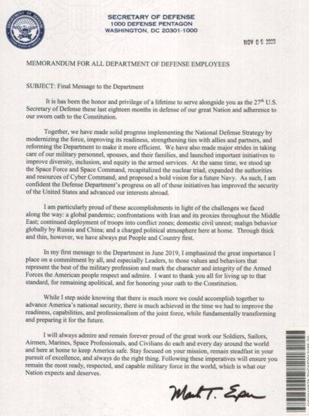 Read Mark Esper's final letter to President Trump as Defense Secretary