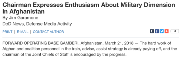The Pentagon Is Really Ramping Up The High Quality Bullsh*t About Afghanistan