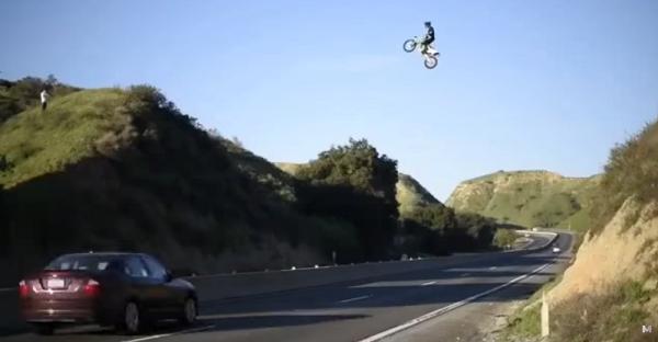 A Biker In California Jumped 4 Lanes Of Traffic And Filmed It. Enjoy