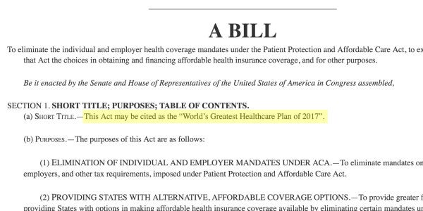 A Congressman Just Proposed The World's Greatest Health Care Plan. Literally