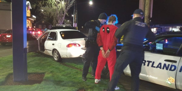 We've All Been This Drunk Guy Arrested In A Deadpool Onesie At Taco Bell