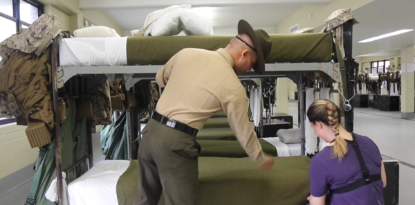 Drill Instructor Chews Out Reporter For Making The Worst Rack He's Ever Seen