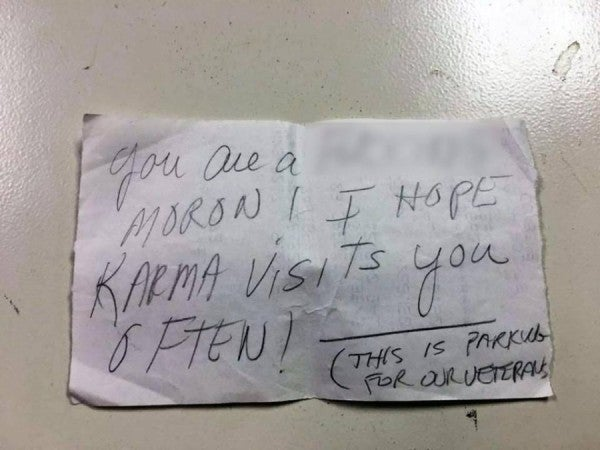 'You Are A F**king Moron!' Reads Note Left On Veteran's Car In Parking Lot