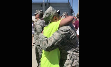 Vet's Illness Keeps Him From Walking, But He Stands For His Son's Recruit Graduation