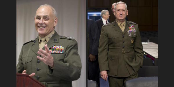 Retired Marine Generals Mattis and Kelly Recommend Each Other For Defense Secretary