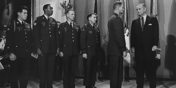Liteky receiving the Medal of Honor from President Lyndon B. Johnson