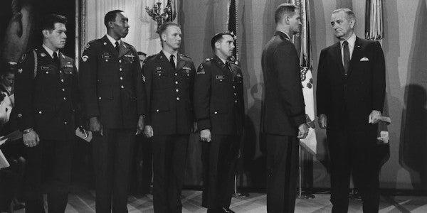 Liteky receiving the Medal of Honor from President Lyndon B. Johnson