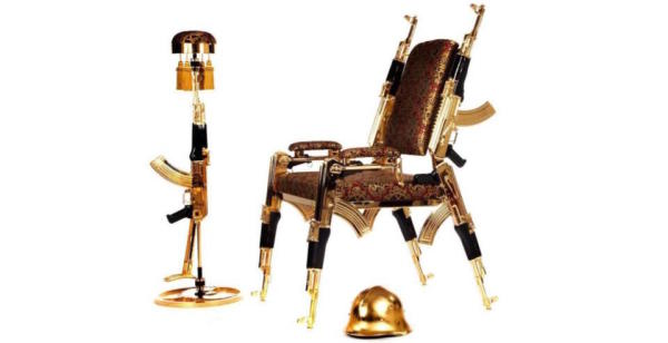 Some Guy Made A Chair Out Of Gold-Plated AK-47s