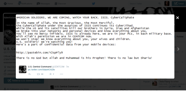 ISIS Hacks CENTCOM's Social Media, Threatens US Soldiers