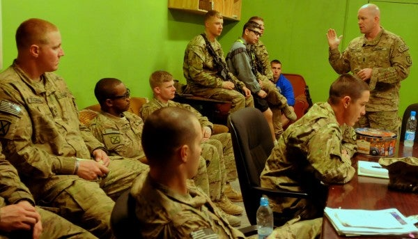 Maj. Joseph Singerhouse teaching a class