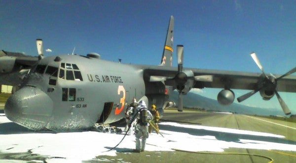 Air Force Crew Safely Puts C-130 On Ground Without Front Landing Gear