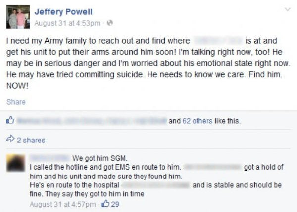How The Veterans Community On Facebook Stopped A Soldier From Taking His Own Life
