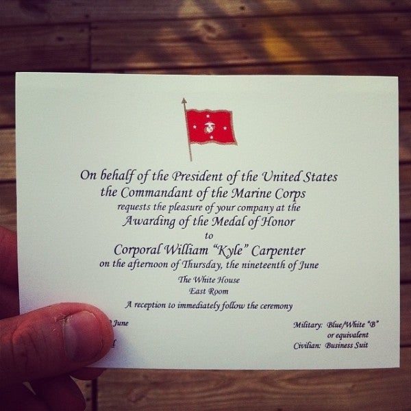 Check Out What An Invitation To Kyle Carpenter's Medal Of Honor Ceremony Looks Like