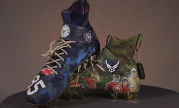 NFL player's custom-made cleats feature a Gold Star family to honor the fallen