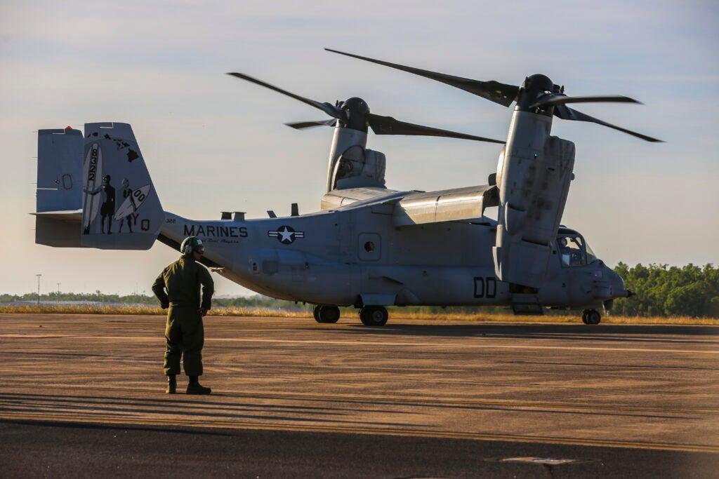 The MV-22 Osprey tilt-rotor aircraft at Royal Australian Air Force Base Darwin.  (U.S. Marine Corps/Sgt. Kayla Rivera)