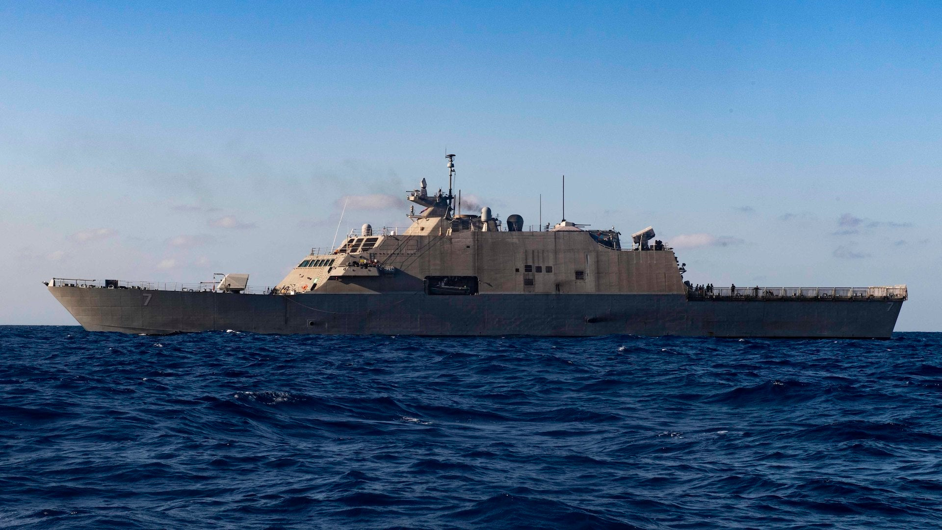 The Freedom-class littoral combat ship USS Detroit (LCS 7) sails through the Caribbean Sea. During the deployment to the U.S. Southern Command's area of responsibility, Detroit, with embarked helicopter and USCG law enforcement detachment, will support Joint Interagency Task Force South's mission, which includes counter-illicit drug trafficking in the Caribbean and Eastern Pacific. (U.S. Navy photo by Mass Communication Specialist 2nd Class Anderson W. Branch/Released)