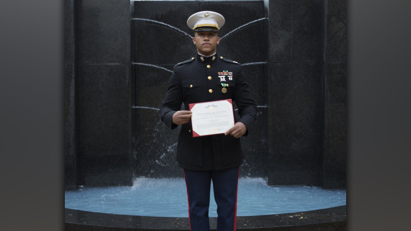 On his way to the ball, a Marine used his belt as a tourniquet to save a motorist's life