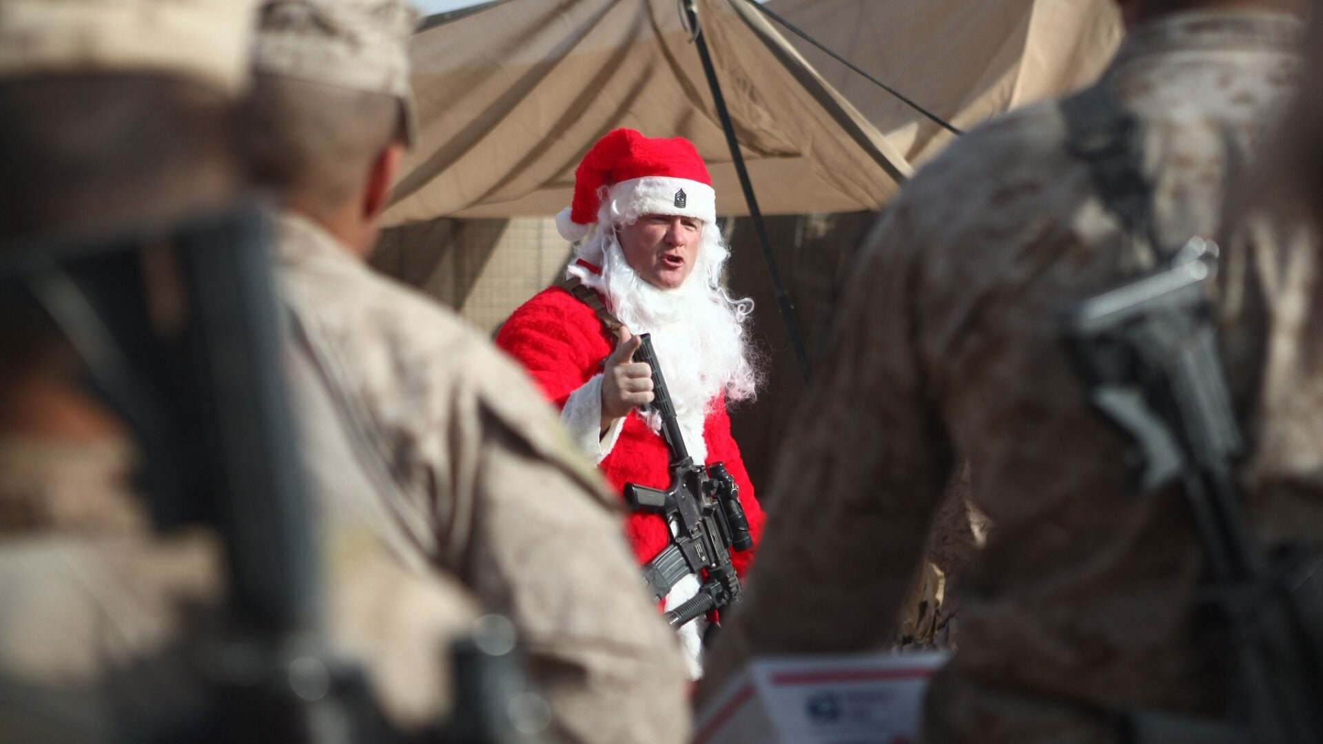 'Twas the night before Christmas, when all through the war zone…